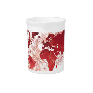 World Map Art in Red Pitcher