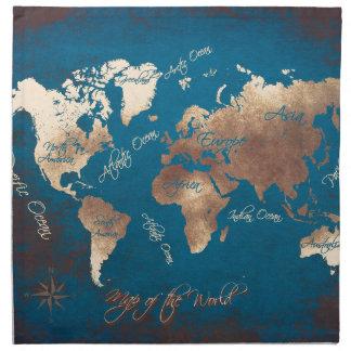 world map art napkin