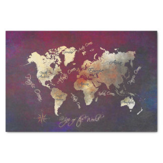world map art tissue paper