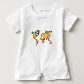 world map baby bodysuit