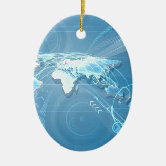 World Map Background Christmas Ornament