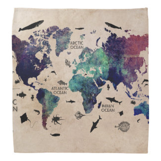 world map bandana