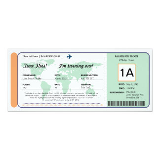 World Map Birthday Boarding Pass Ticket Card