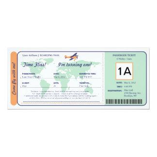 "World Map Birthday Boarding Pass Ticket 4"" X 9.25"" Invitation Card"