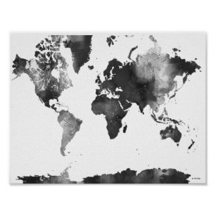 Black And White World Map Posters Prints Zazzle Uk