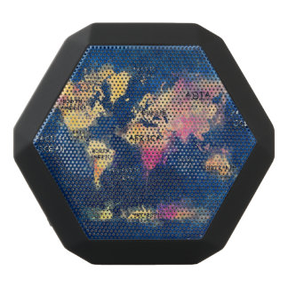 world map black bluetooth speaker