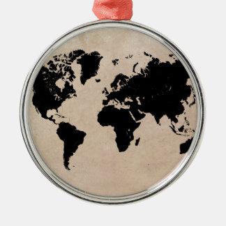 world map black christmas ornament