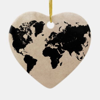 world map black christmas ornament