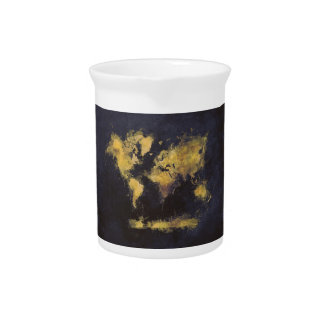 world map black yellow pitcher