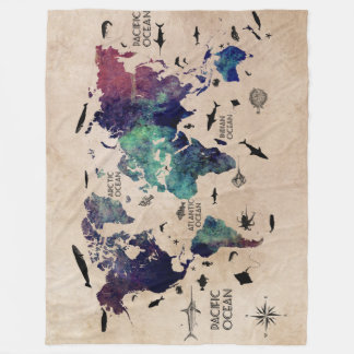World Map Fleece Blankets Zazzlecouk - World map blanket