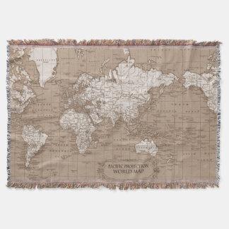 World Map Blanket Australia specific brown