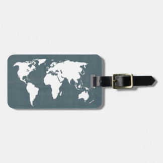 World Map . blue and white Tag For Bags
