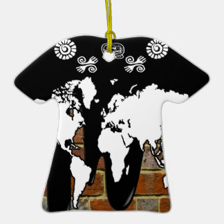 WORLD MAP BRICK BACKGROUND PRODUCTS CHRISTMAS ORNAMENT