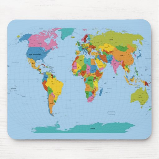 World Map Bright Mousemat