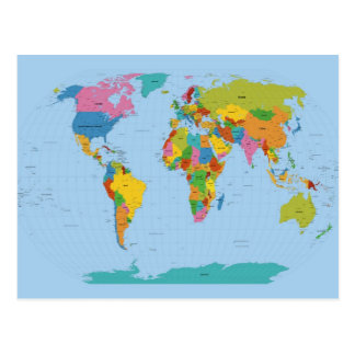 World Map Bright Postcard