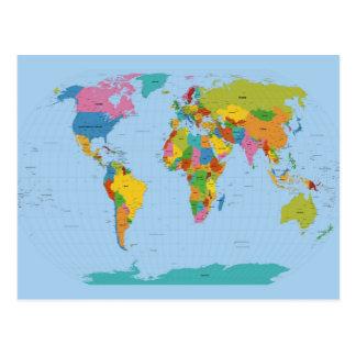 World Map Bright Postcard