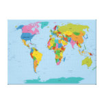 World Map Bright Stretched Canvas Print