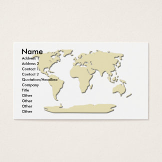 World Map Business Card  Eggshell
