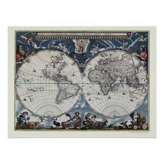 World Map by Joan Blaeu - 1664 Poster