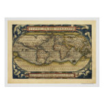 World Map By Ortelius 1570 Poster