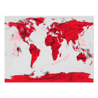 World Map Calligraphy - Art Print Art Photo