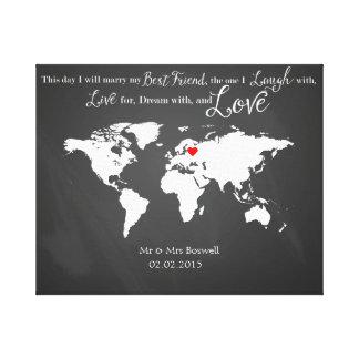 world map canvas wedding guestbook guest book