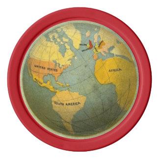 World Map Card Guard Vintage Red Color 5 Poker Poker Chips