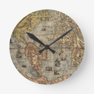 Old world maps wall clocks zazzle world map clock gumiabroncs Gallery