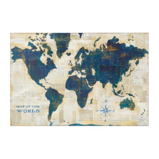 World Map Collage Acrylic Print