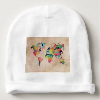 world map colors baby beanie
