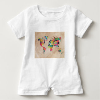world map colors baby bodysuit