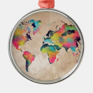world map colors christmas ornament