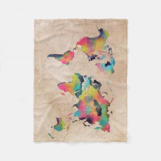 world map colors fleece blanket