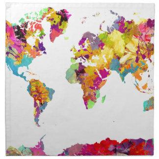world map colors napkin