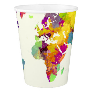 world map colors paper cup