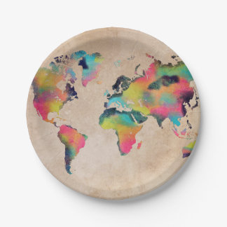 world map colors paper plate