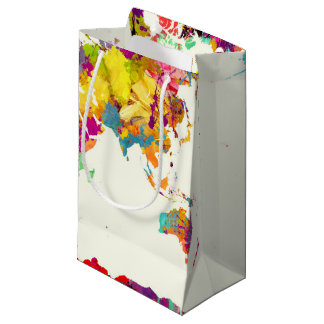 world map colors small gift bag
