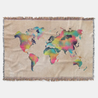world map colors throw blanket