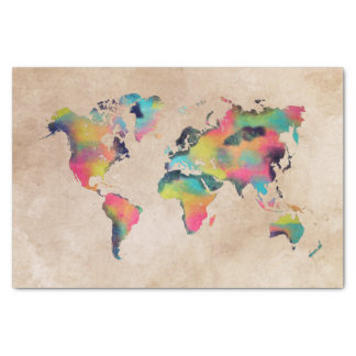 world map colors tissue paper