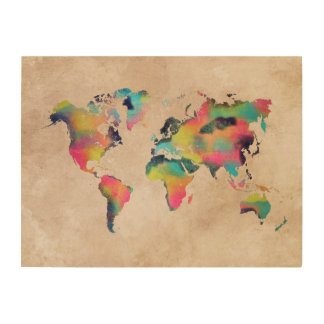 world map colors wood wall art