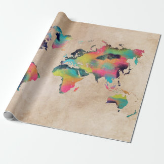 world map colors wrapping paper