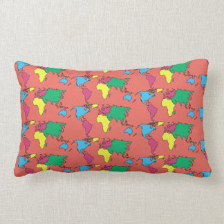 World Map Coral Pastel Colors Throw Pillow Cushion