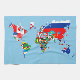 World map tea towels zazzle world map country flag symbol silhouette tea towel gumiabroncs Image collections