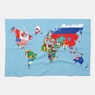 world map country flag symbol silhouette tea towel