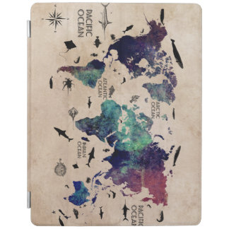 world map cover iPad cover