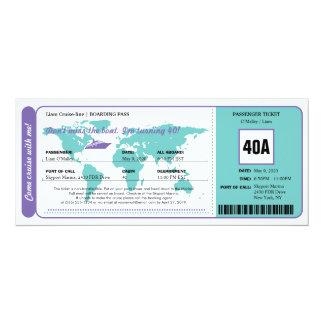 World Map Cruise Birthday Boarding Pass Ticket 10 Cm X 24 Cm Invitation Card