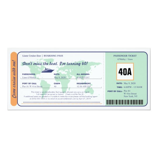 World Map Cruise Birthday Boarding Pass Ticket Card