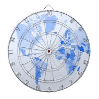 World Map Crumpled Pale Blue Dartboard