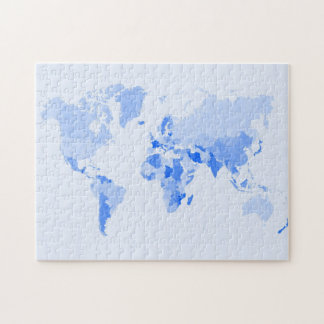 World Map Crumpled Pale Blue Jigsaw Puzzle