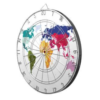 World map darts board dartboard